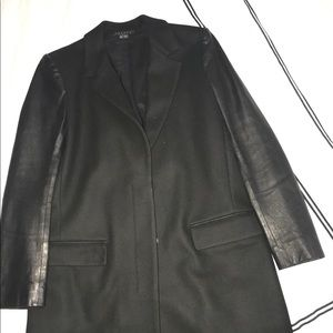 Theory jacket with genuine leather sleeves